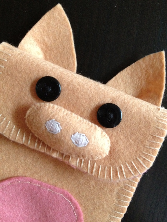 pig handmade felt phone pouch