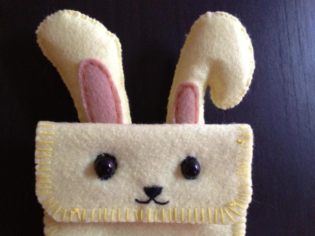 bunny handmade felt phone pouch