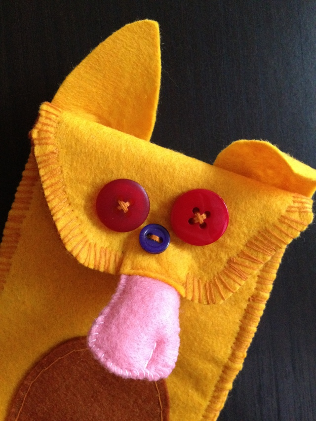 foxy handmade felt phone pouch