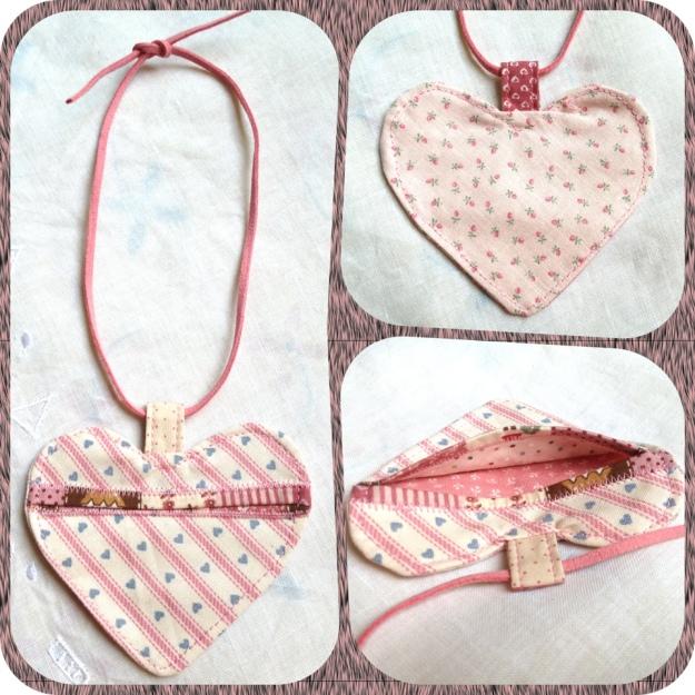 Handmade Pink Valentine Heart earpiece pouch