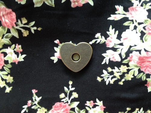handmade oversized clutch, heart-shaped metal magnet clasp