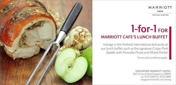 1 for 1 lunch buffet at Marriott Cafe