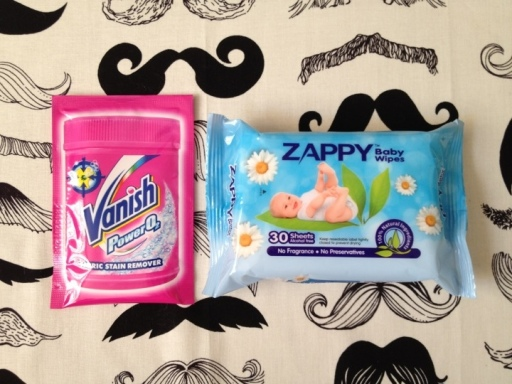 vanish washing powder and zappy's baby wipes