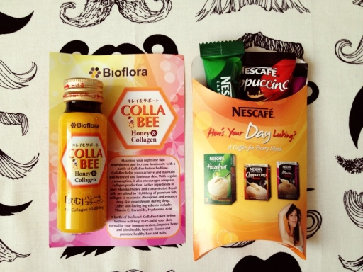 Collabee collagen drink and Nescafe cappuccino, mocha, and hazelnut latte