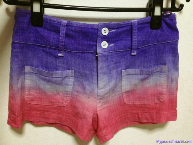 DIY ombre dyed shorts. Singapore Craft/DIY Blog