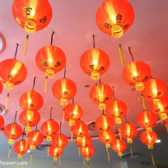 Red chinese lanterns hung on the ceiling.